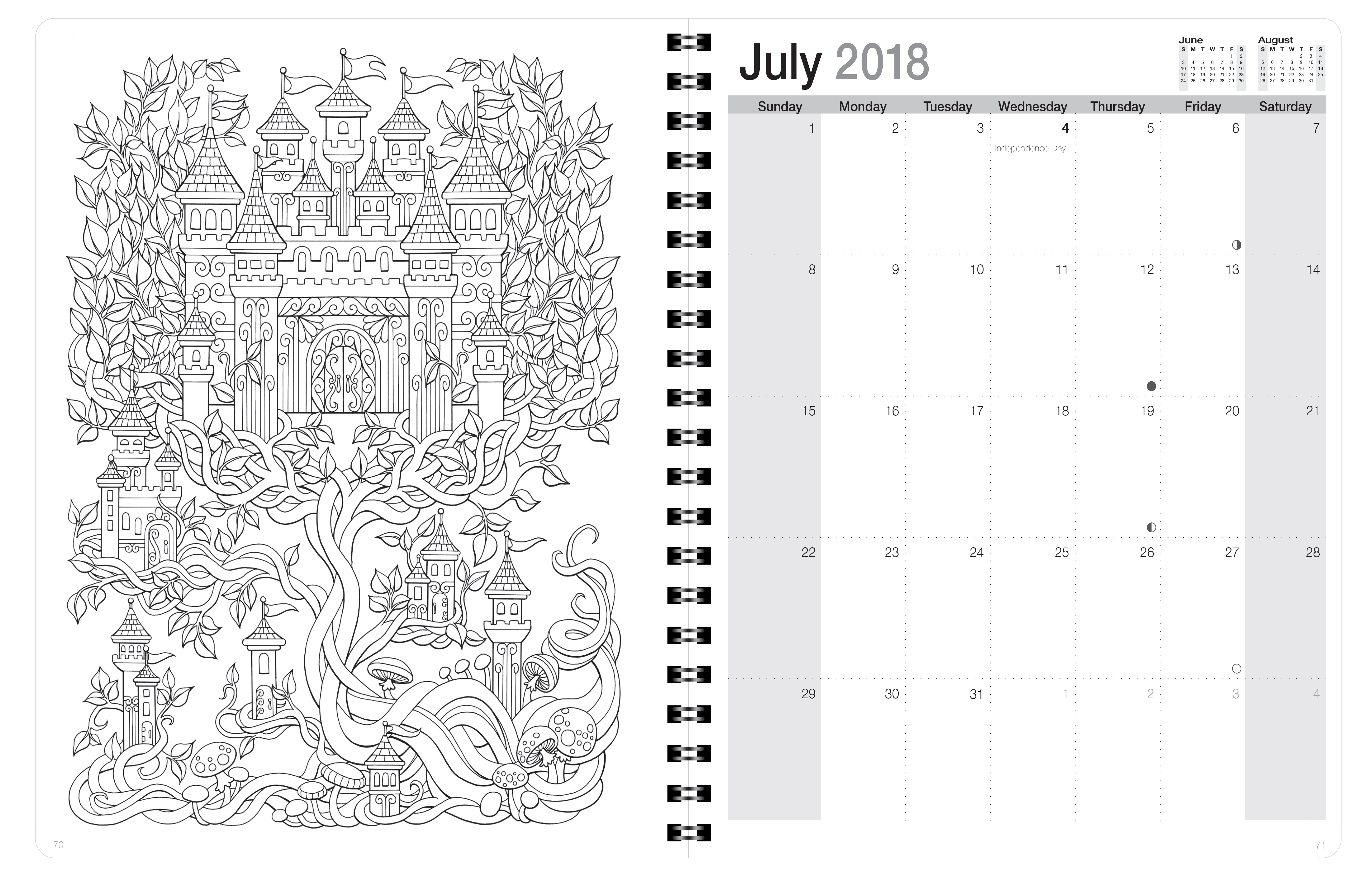 2018 Coloring Day Planner Mythical Enchantments