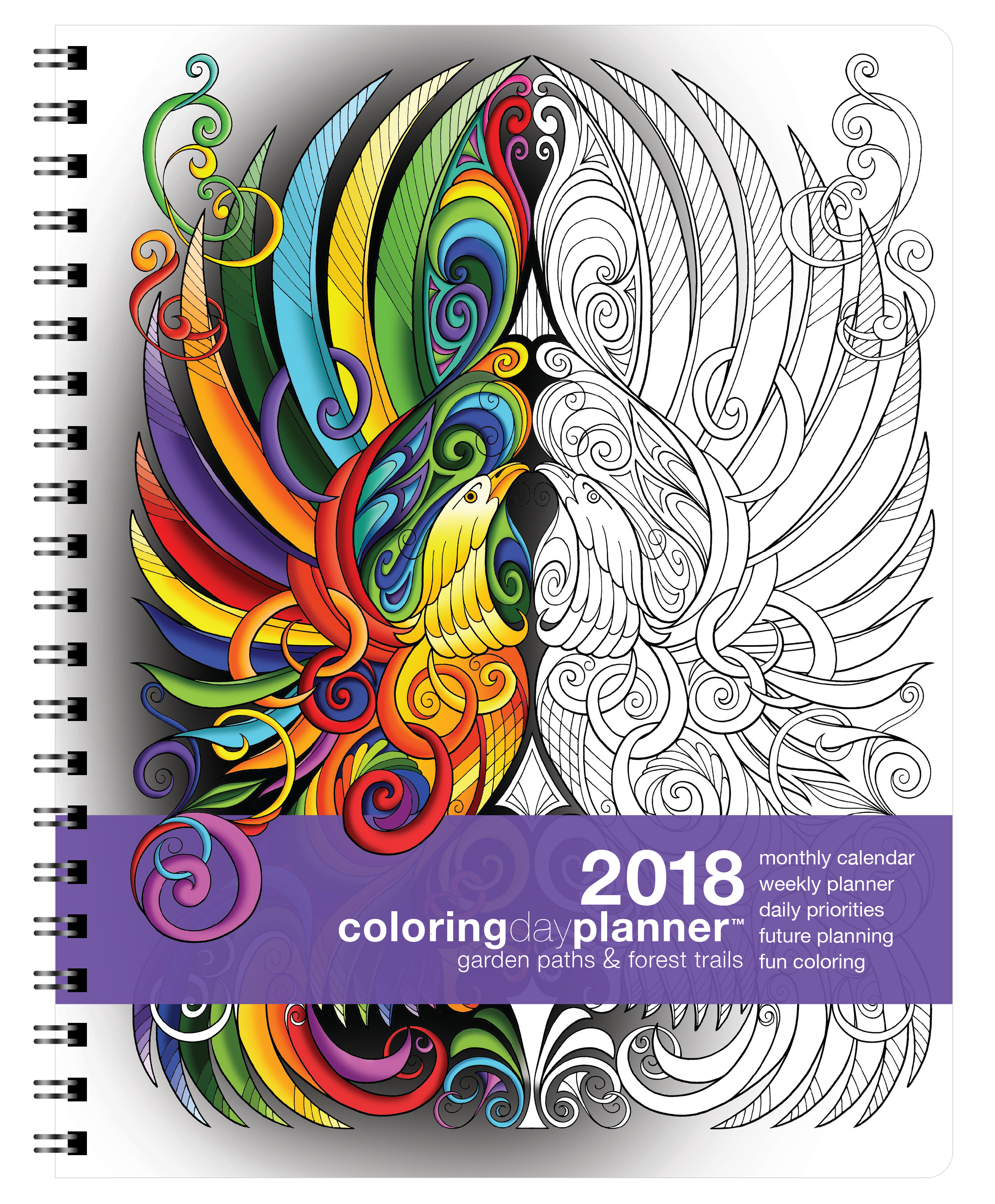 2018 Coloring Day Planner Garden Paths & Forest Trails | Kathryn ...