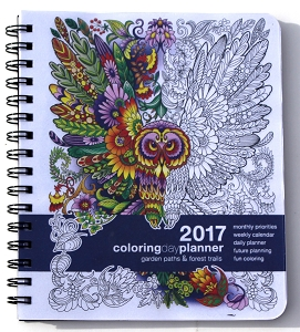 2017 Medium Garden Paths & Forest Trails Coloring Planner (7 x 8.5 inches)
