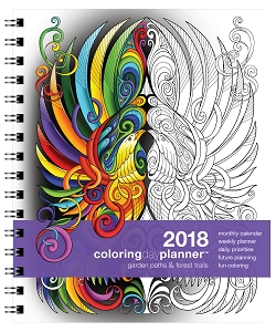 2018 Coloring Day Planner Garden Paths & Forest Trails