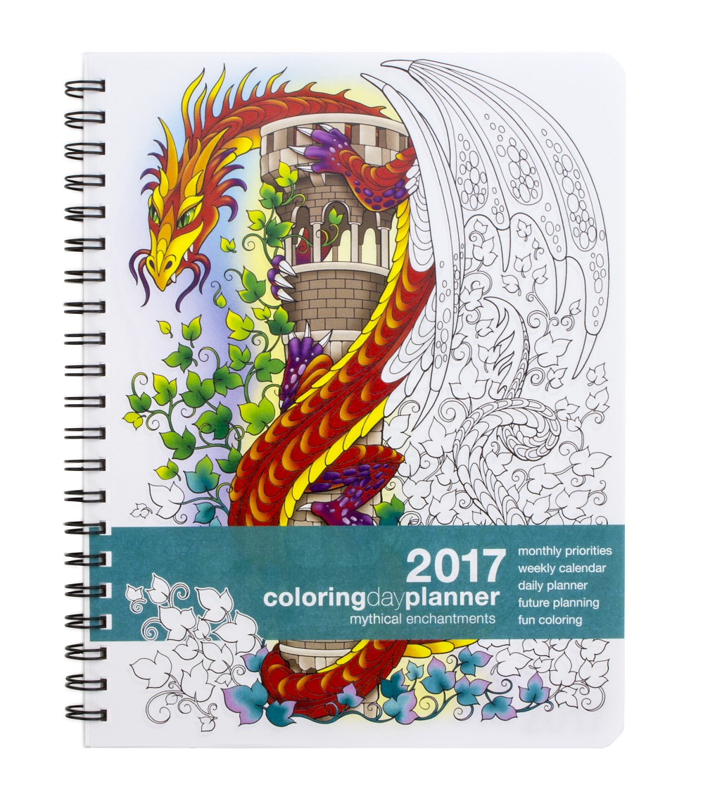 2017 Medium Mythical Enchantments Coloring Day Planner (7 x 8.5 inches)