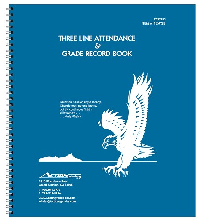 12-WGB Three-Line Whaley Gradebook (10.375 x 12 inches) -- Three 12-week sessions