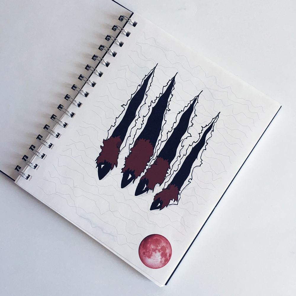 Werewolf Journal Scary Notebook Red And Black Notebook