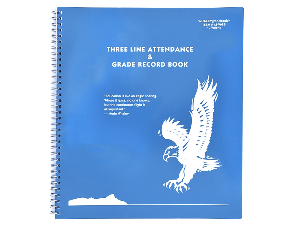Whaley Gradebook 12WGB (10.375 x 12 inches) 3-Line Grade And Attendance Record Book, Six 12-Week Periods
