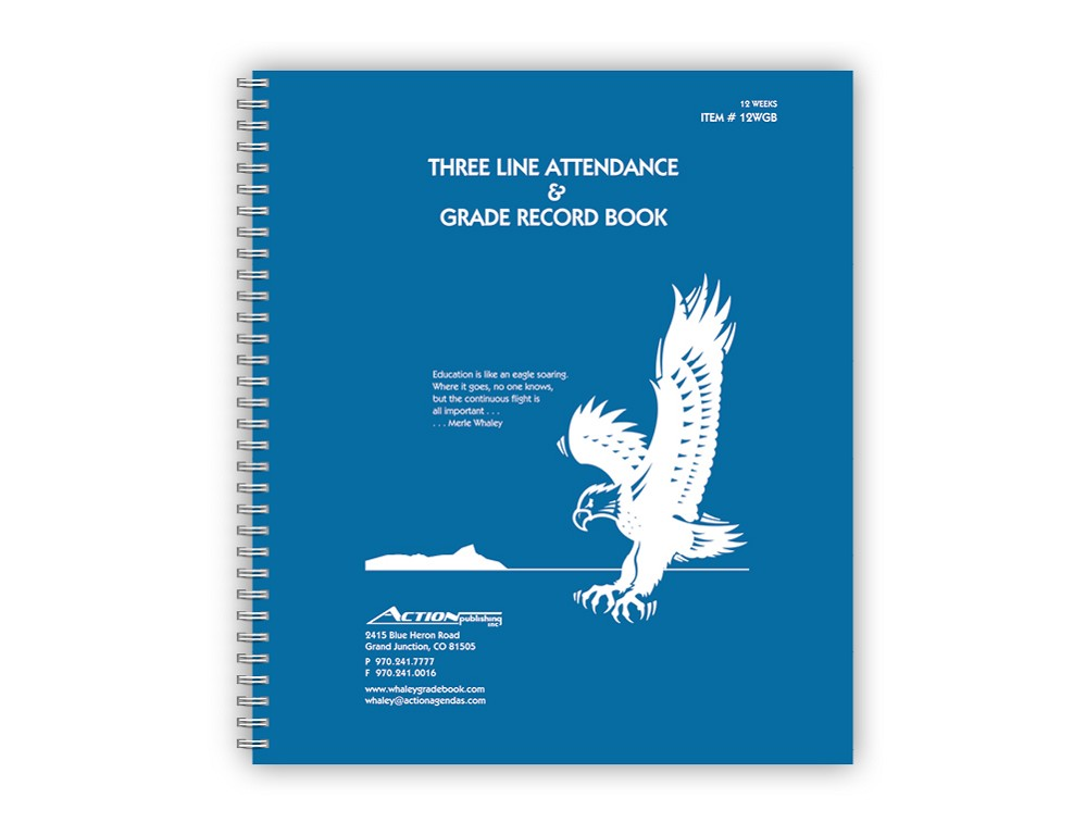 Whaley Gradebook 12WGB (10.375 x 12 inches) 3-Line Grade And Attendance Record Book, Three 12-Week Sessions