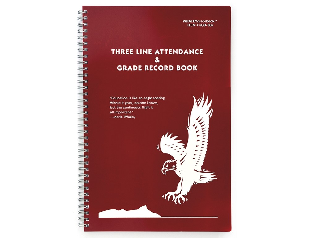 Whaley Gradebook 6GB-066 (7.75 x 12 inches) 3-Line Grade And Attendance Record Book, Six 8-Week Sessions