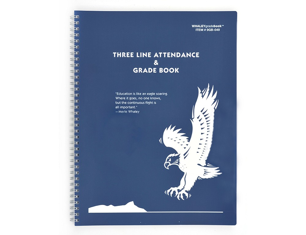 Whaley Gradebook 9GB-049 (9 x 12 inches) 3-Line Grade And Attendance Record Book, Eight 10-Week Periods
