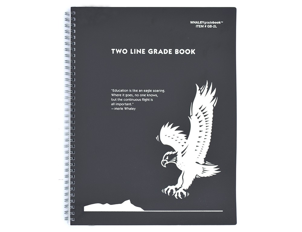 Whaley Gradebook (9 x 12 inches) 2-Line Grade And Attendance Record Book, Four Quarters or Six Terms (GB-2L)