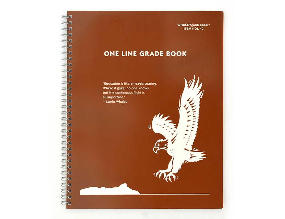 Whaley Gradebook OL-40 (8.5 x 11 inches) 1-Line Grade And Attendance Record Book, Six 10-Week Quarters NO PERFORATION: Discount Stock