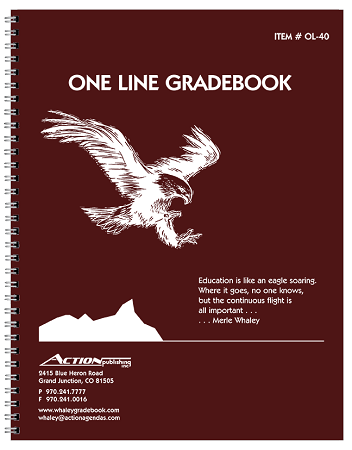 Whaley Gradebook (8.5 x 11 inches) 1-Line Grade And Attendance Record Book, Four 10-Week Quarters (OL-40)
